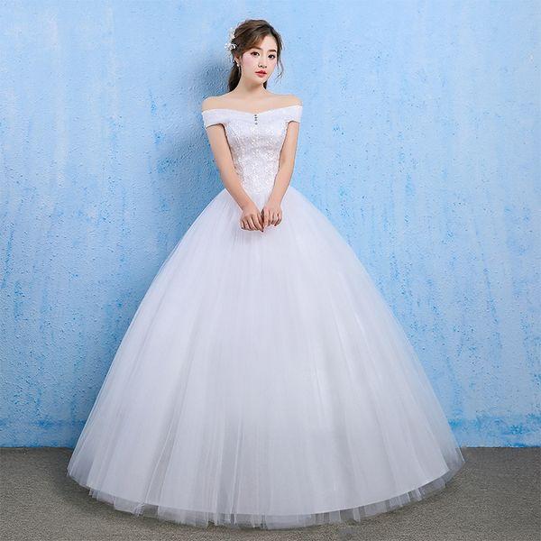 Crystal Dress Wedding Long 2019 Lace Off-shoulder Sweetheart Sleeveless Lace Up Cheap Wedding Dress Elegant Vestidos De Noivas Y19072901