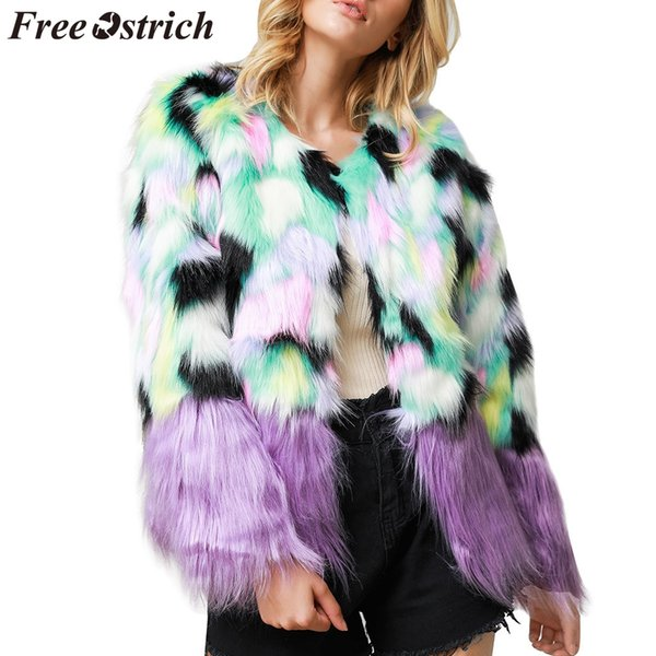 FREE OSTRICH Coat Women Print Stitching Loose Fur Colorful O-Neck Geometric Long Sleeve Loose Fashion Autumn Winter Coat Women