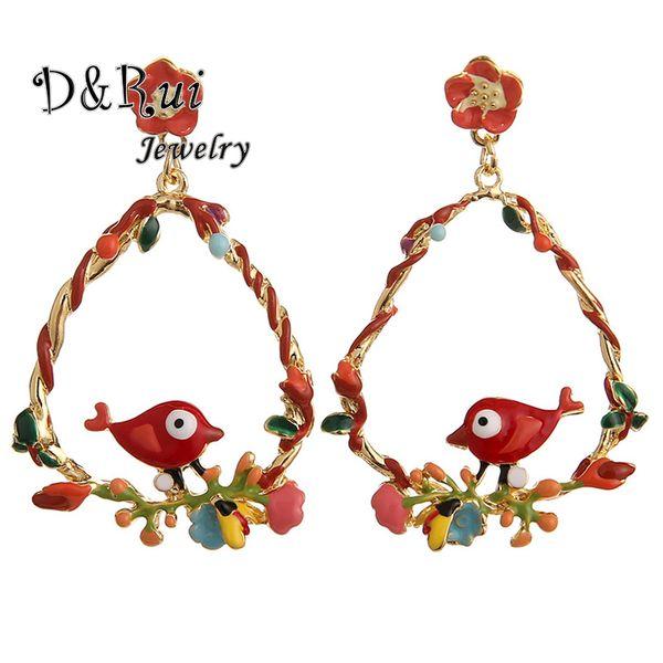 new korean summer dangle women earings vintage enamel bird gold alloy flower hanging drop earring fashion woman earrings 2019