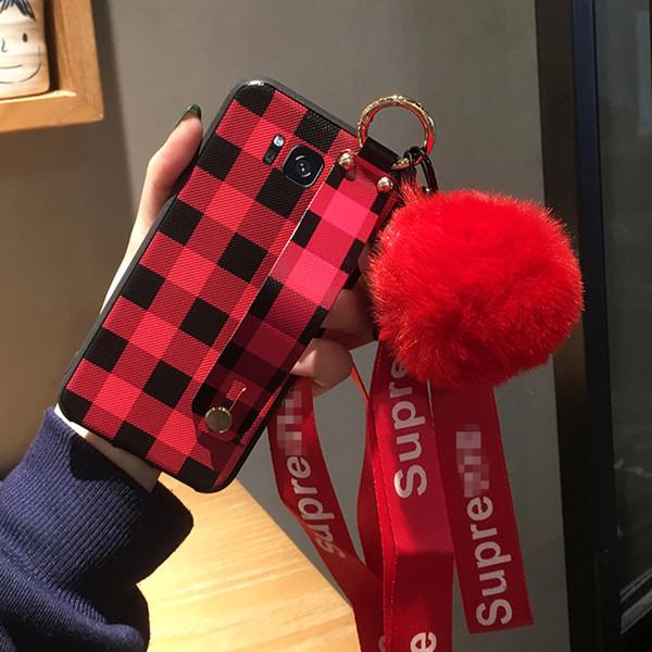 2019 neue ankunft samsung s10 telefon case silikon schutz männer und frauen modelle kreative halterung lanyard hair ball plaid paar soft cover