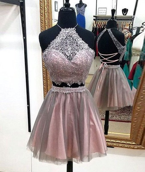 Lace Short Homecoming Prom Dresses Halter Criss-Crossing Back Designer Two Pieces Sequins Cheap Mini Evening Formal Party Dress Gowns
