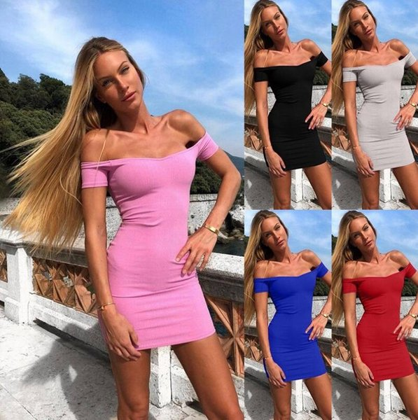 2019 Hot Summer Strapless Short Sleeve Sexy Mini Dress