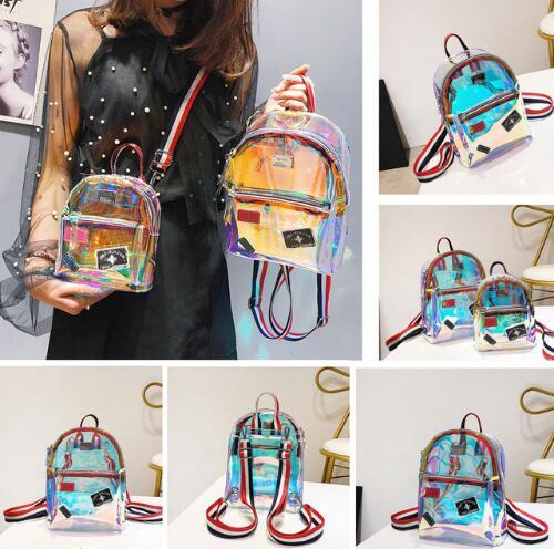 Unisex New Fashion Girl Clear Transparent See Through PVC Mini Backpack School Book Bag Laser Jelly Transparent Backpack Free shipping