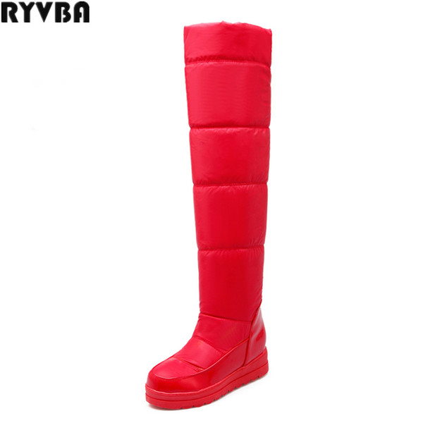 RYVBA 20190 new woman winter over the knee snow boots fashion platform thigh high boots women shoes ladies women's black red