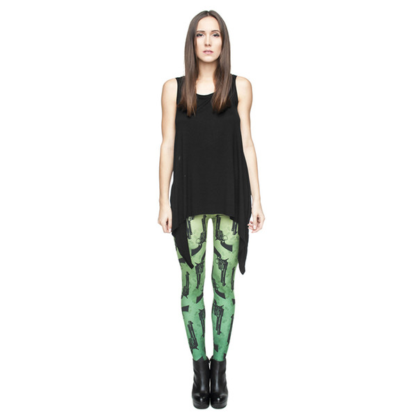 Polainas de las mujeres Pistola 3D Digital Impreso Completo Banda de Cintura Elástica Yoga Pantalones Chicas Sportwear Lápiz Fit Lady Casual Runner Lápiz Pantalones