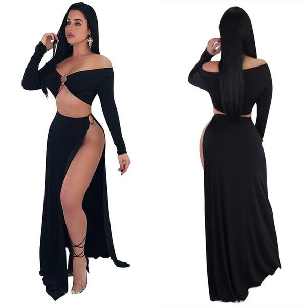 Women strapless black dress new design high split summer floor length long maxi dress full sleeve evening elegant dress