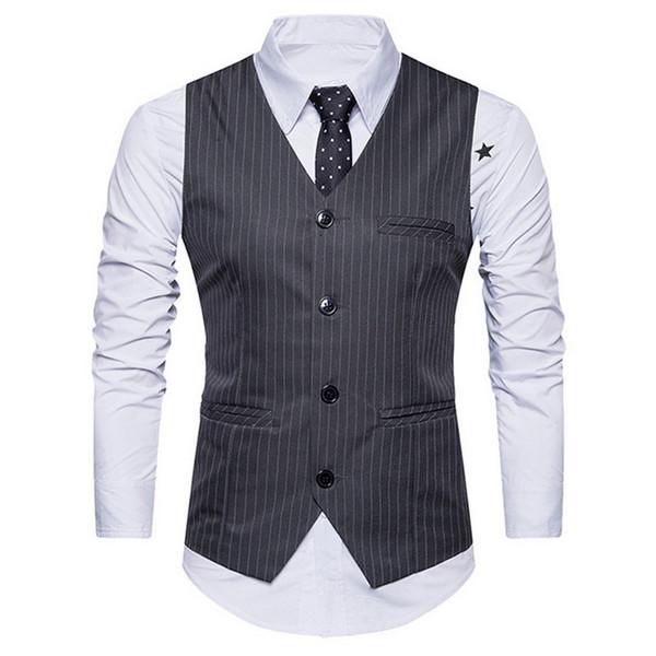 wholesale 2018 Brand New Vintage Vest Waistcoat Men Classic England Business Suit Vest Fashion Striped Wedding Mens Dress