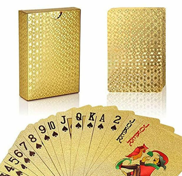 top popular New 24K Gold Foil Plated Poker Playing Cards Collection Box Euro Dollar General Style For Entetainment Gift Toys Free Shipping 2020