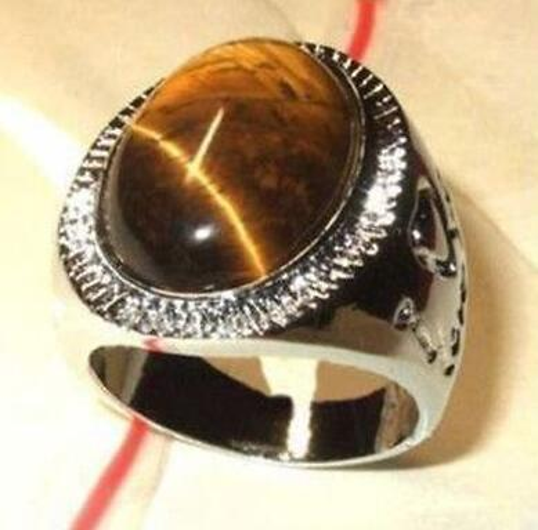 Free Shipping> New hot fashion beautiful silver Tibet brown jade men's ring size 8 9 10 11