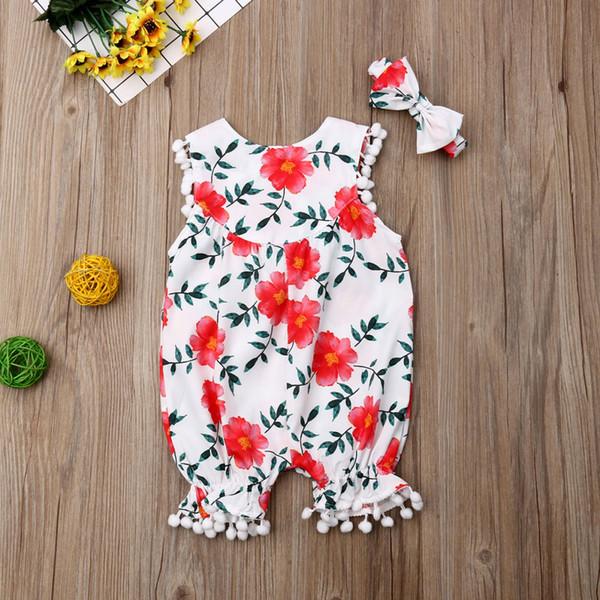 Yenidoğan Bebek Kız Kolsuz Püskül Çiçek Romper Tulum Bodysuit Giyim Seti