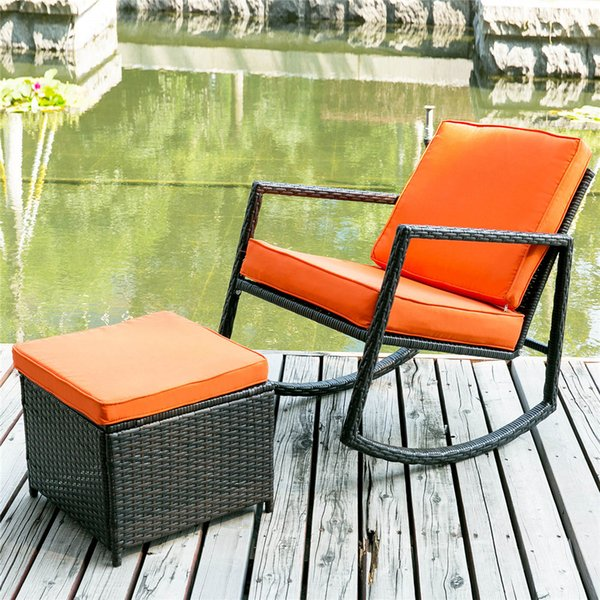 Terrific 2019 Sonyi Patio Wicker Rocking Armed Outdoor Garden Lounge Ottoman Modern All Weather Converstation Outdoor Garden Furniture Sets Cushion Orange From Uwap Interior Chair Design Uwaporg