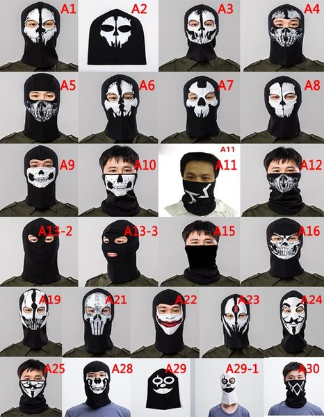Halloween Scary Mask Skeleton Ghost Masks full face Outdoor Paintball Ski Sport Motorcycle Bike Helmet Mask Neck Scarf cap Party Supplies