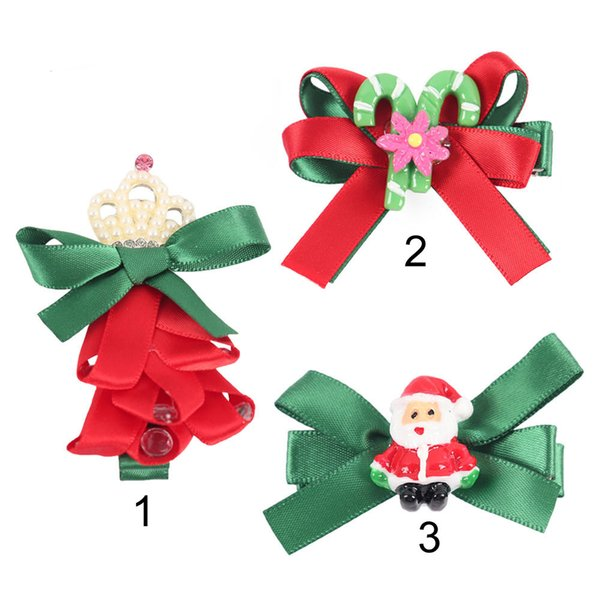 Christmas Hair Clips.2 5 Christmas Cute Hair Clips For Girls Satin Red Green Ribbon Bows Tree Bowknot Festival Party Hair Accessories Baby Girls Hair Accessories Christmas