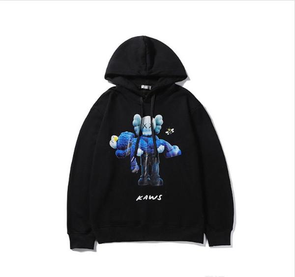 Diseño Luxry con capucha para hombre de algodón de alta calidad Comfort Terry Uniqlo x KAWS conjunta Impreso Pullover Calle floja de Hip Hop sudaderas