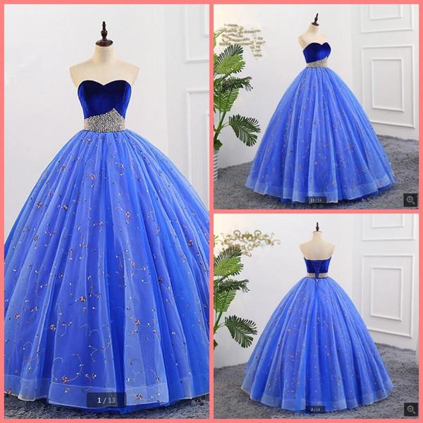 2019 immagine reale abito da ballo in velluto di pizzo blu reale abito da ballo senza spalline con scollo a cuore corsetto abiti da ballo vendita calda