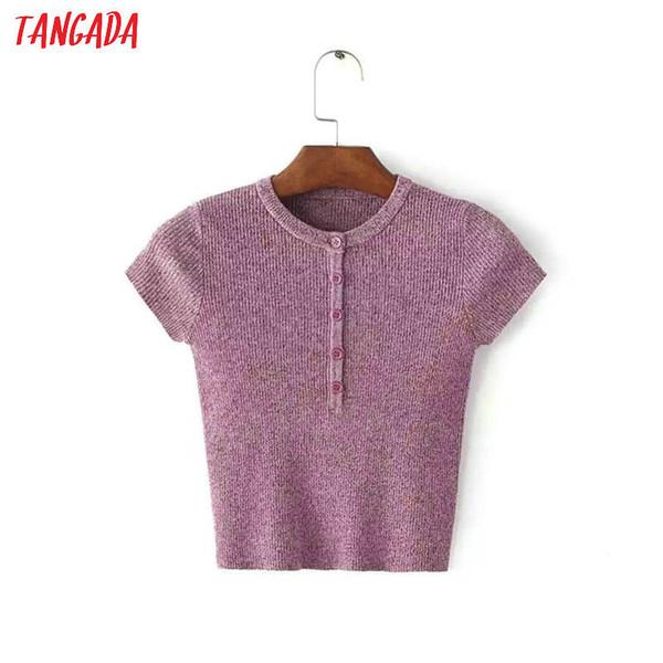 Tangada Summer 2019 Knitted T-shirt Crop Vintage Korean Pink T Shirt Women Short Sleeve Casual Tops Tees Shirt Femme 2b06 J190427