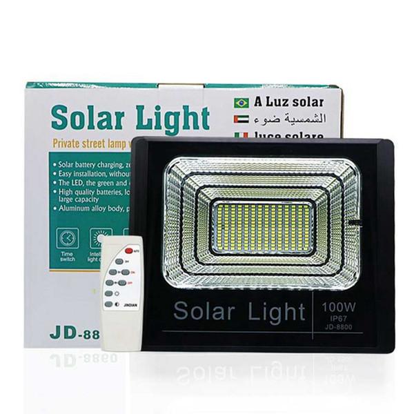 Faretto solare a LED Faretto luminoso 100W Super Bright Solar Powered Panel Floodlight Impermeabile IP67 Street Lamp con telecomando