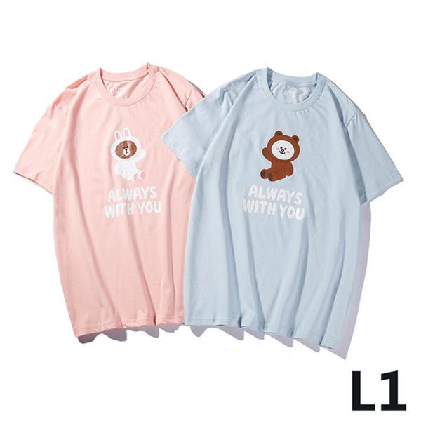 2019 New Japan heißer Verkauf Kernmarke gemeinsamen Namen, UT X Line Freunde einfarbig Cartoon-Muster Rundhals Männer und Frauen T-Shirt m-3xl