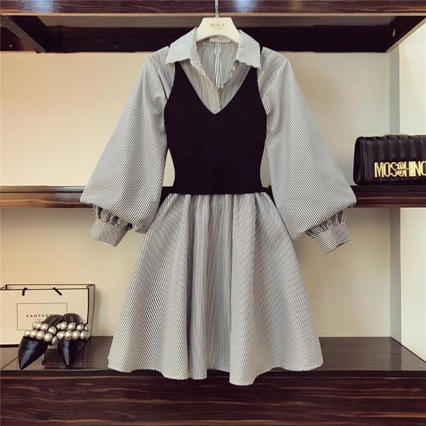 2019 Primavera Estate nuove donne due pezzi abiti ragazze manica lunga allentata camicia bianca + breve Slim maglia a maglia abiti da imbracatura