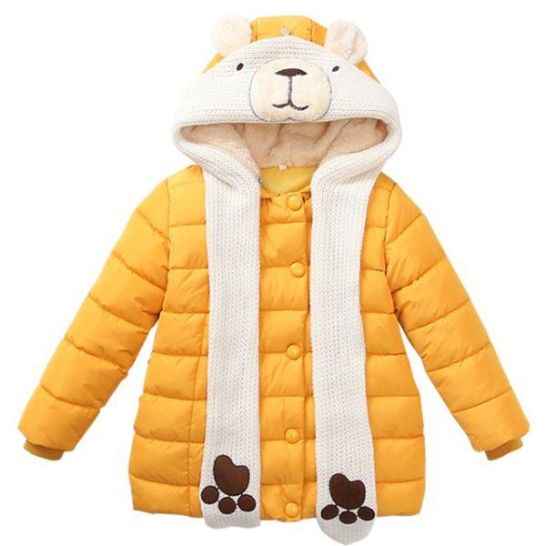 DZIECKO New Design Girls Winter Coats Thick Warm Xmas Outerfit Cute Bear Scarf Hooded Long Jackets Girls Parka Children Clothing