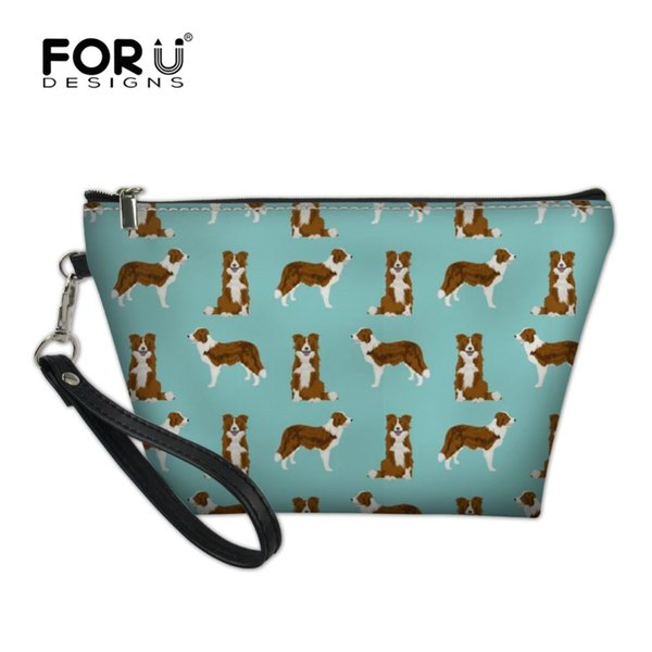 FORUDESIGNS New Cosmetic Bag Women Border Collie Printing Makeup Bags Travel Necessity Organizer Storage Toiletry Kit Case Tote
