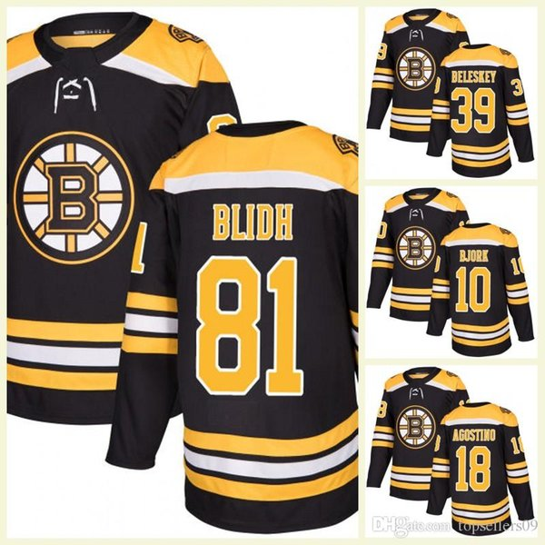 2017 Yeni Erkek Boston Bruins 18 Kenny Agostino 39 Matt Beleskey 81 Anton Blidh 10 Anders Bjork boş Buz Hokeyi Formaları Sportwear T-shirt