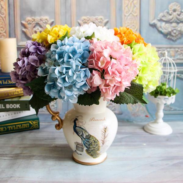 Sola tela de seda Plantas Flores Artificiales Rama Banquete de Boda Decorado Hortensia Bouquet Artificial Faux Flores Florales
