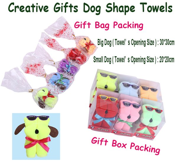 New Cartoon Dog Shape Microfiber Towels With Sun Glasses Dogs Shape Towels Present Creative Animal Shaped Towel Gifts Creative gifts
