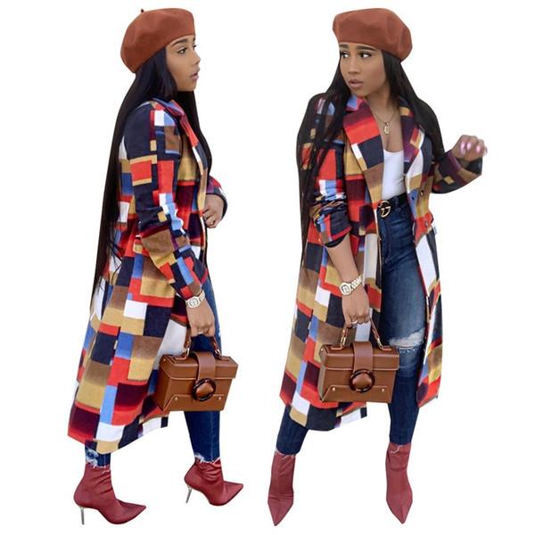 Geometrische Windjacke Drehen Hals Mode Splice Farben Lange Mäntel Winter Frauen Hause Kleidung Heißer Verkauf 62wd E1