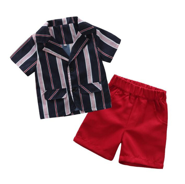 New Summer Baby Gentleman Ropa para niños Set Kids Short Sleeve Stripe Coat + Shorts Boy Children 2pcs Trajes 14673