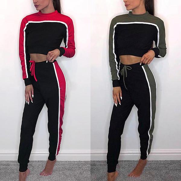 Kadınlar Için eşofman 2 Parça Set Basit Çizgili Uzun Kollu Mahsul En Slim Fit Koşu Pantolon