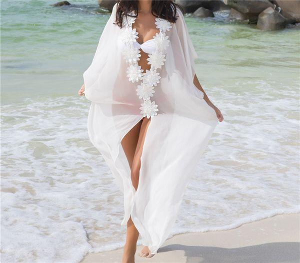 Nuevas flores blancas de gasa blanca pura falda de playa apliques bikini de gran tamaño cubierta de vacaciones protección solar camisa femenina