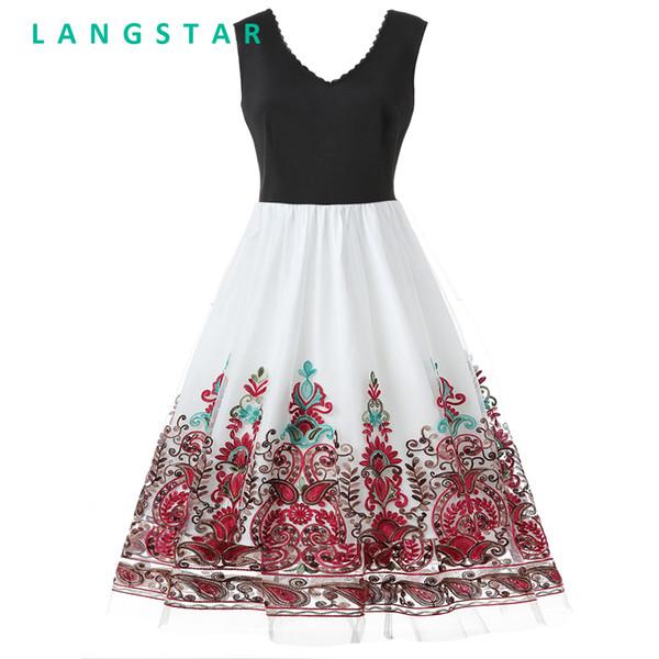 Langstar Плюс Размер Кружевной Панели Вышитые Панели Элегантный Винтаж Платье V-Образным Вырезом До Колен Рукавов Цветочный Узор Женщин Платья