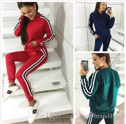 Women Casual Autumn Spring Long Sleeved Two-piece Jogger Set Ladies Fall Tracksuit Sports Sweat Suits Black Red Plus Size S-XL