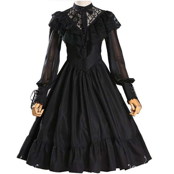 Adult Women Gothic Costume Lace Hollow Bridal Wedding Party Embroidery Dress Lolita Princess Sweet A Line Dress Veil For Ladies
