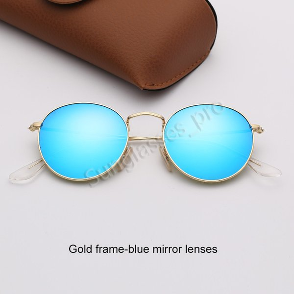 Золотая рамка-голубые зеркальные линзы