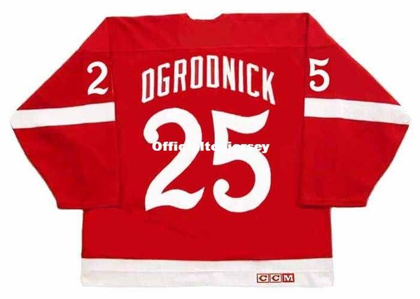 Custom Mens JOHN OGRODNICK Detroit Red Wings 1982 CCM Vintage Barato Retro Hockey Jersey