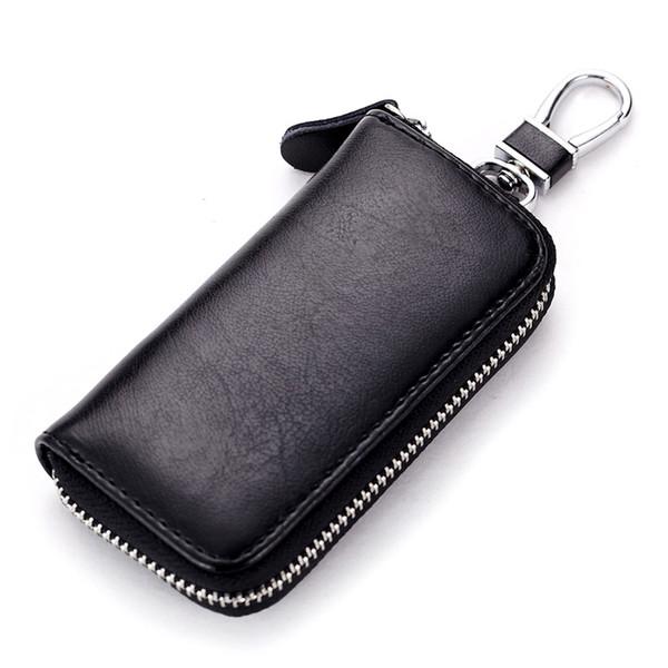 Мужчины женщины мягкие кожаные кошельки ключа автомобиля кейс брелок монета держатель металлический крюк и брелок кошелек молния чехол для авто дистанционного ключа XW23