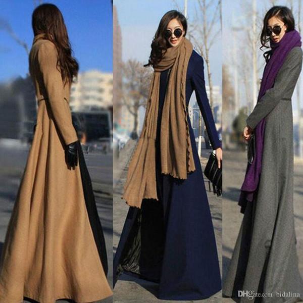2016 Novo Outono Inverno Mulheres Casaco De Lã Fino Até O Chão Design Mulheres Casaco Longo Multi Trench Coat Para As Mulheres Mais 3XL
