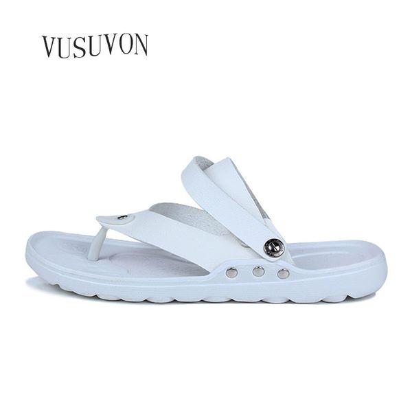New Summer Men Flip-Flops Leather Non-Slip Beach Shoes Summer Trend Leather Sandals Slippers