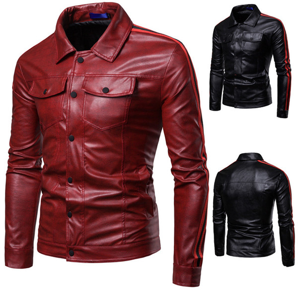 Autumn Winter Luxury Pu Leather Jacket for Men Long Sleeve Motorcycle Jacket Male Stylish Slim Fit Jacket Black Red Veste Cuir Homme M-3XL
