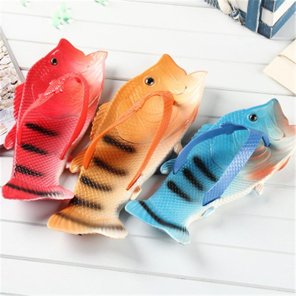 Fish Shape Slippers Funny Unisex Shower Slippers Funny Summer Beach Outdoor Shoes Sandals Flip Flops K006