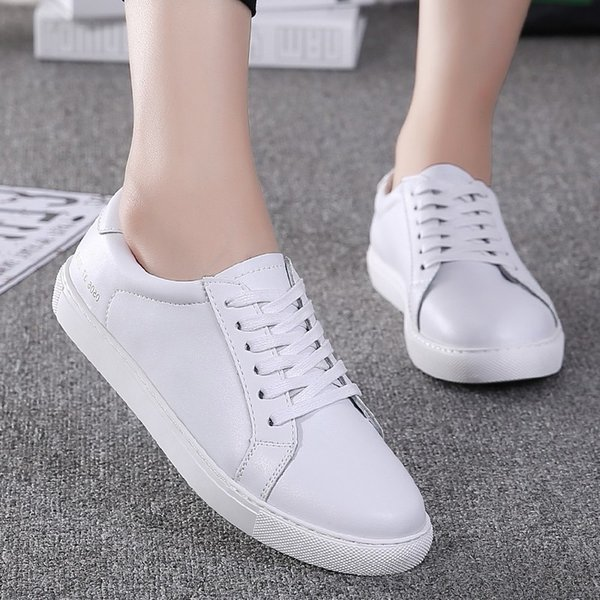 1Genuine Leather Women's Flat Shoe Women Soft Breathable Sneakers Black White Lace Up Woman Casual Flats Female Footwear