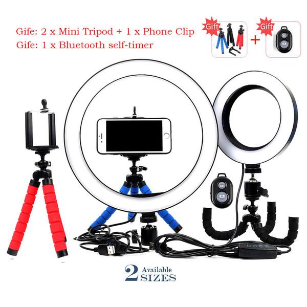 Photographie Dimmable LED 16 / 26cm selfie Light Ring Caméra visiophone avec Rotule + Mini trépied studio en direct Youtube Ring Lamp