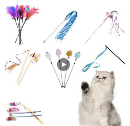 10 Stil Kedi Oyuncak Plastik Kitten İnteraktif Çubuk Komik Kedi olta Oyun Wand Tüy Çubuk Oyuncak Pet Kedi Aksesuarı Malzemeleri