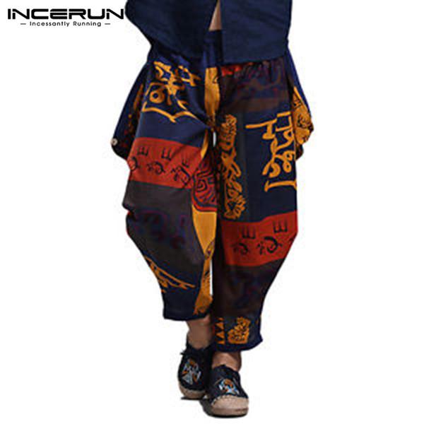 INCERUN 2019 Loose Men Harem Pants Joggers Print Hip-hop Cotton Linen Trousers Men Vintage Ethnic Style Casual Pants Plus Size