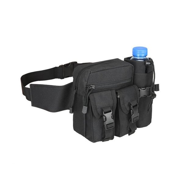 Tactical Fanny Packs With Water Bottle Pocket Holder, Waterproof Molle Waist Bag for Cycling Hiking Camping Hunting Fishing Traveling