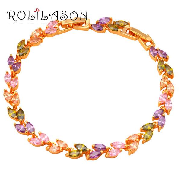 Charm Armband Elegante Farbe Kristall Charm Armbänder Gold Tone perfekte Geschenk für Jubiläum Gesundheit bleifrei Modeschmuck TB738