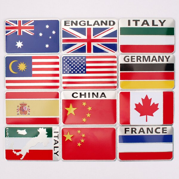 best selling 80x50mm Aluminum Alloy Car stickers Badges Emblem China Australian Spain Italy Canada Germany Russian Sweden France Malaysia EU USA UK Flag