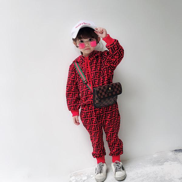 Kid Дизайнерская Одежда Комплект 2019 Роскошный Принт Спортивный Костюм Модные Буквы FF Толстовка С Капюшоном + Бегунов Мальчиков Девочек Детей Повседневная Soprtwears 2 Стилей